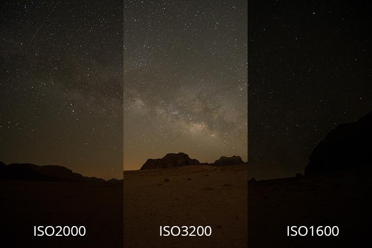 Vergleich ISO-Werte beim Sterne fotografieren