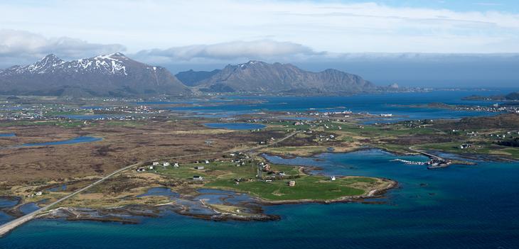Blick zurück auf die Insel Vestvågøy