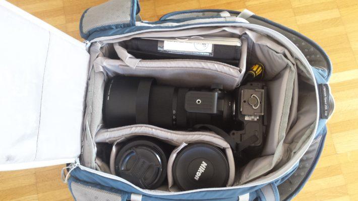 Nikon D750 mit Sigma 150-600 im Lowepro Flipside