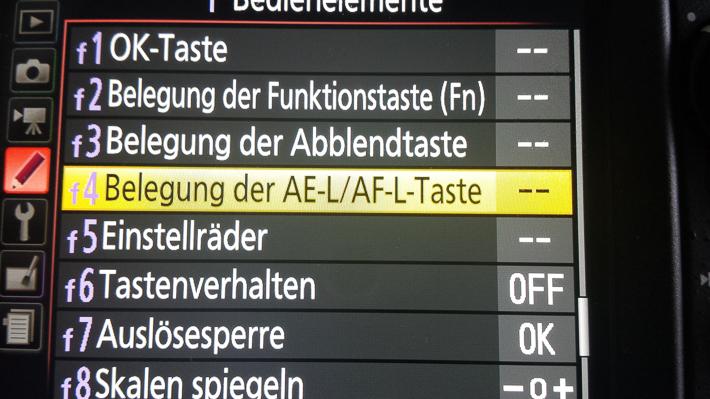 Belegung der AE-L/AF-L Taste